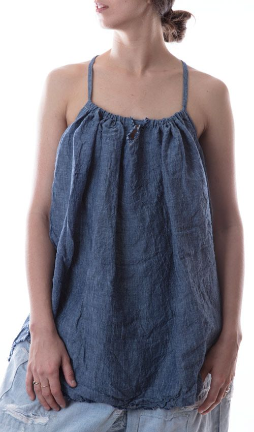 Linen Chambray Livy Tank with Keyhole and Spaghetti Straps in Dark Chambray