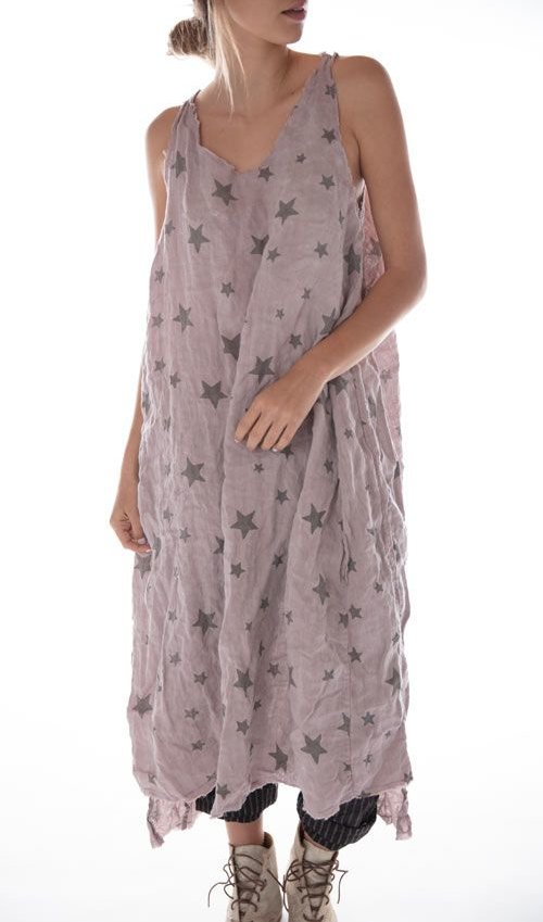 European Linen Galaxy Layla Tank Dress with Raw Edges, Magnolia Pearl