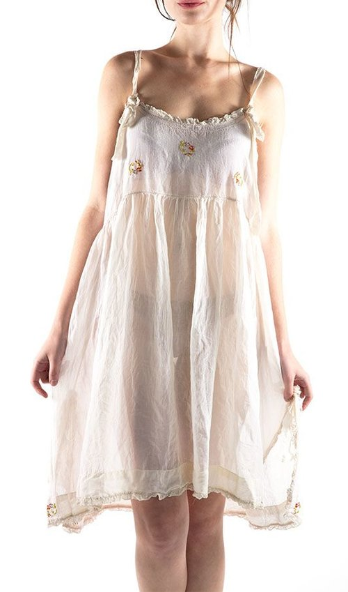 Cotton Rubia Kate Slip with Floral Hand Embroidery, Silk Satin Straps and Cotton Lace, Snaps at Back, Magnolia Pearl
