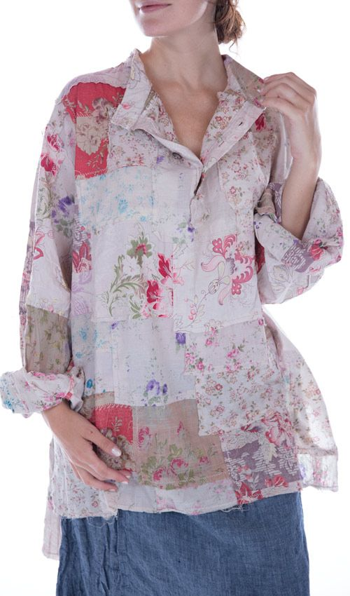Linen Johnny Love Shirt with Long Sleeves, Two Front Pockets, Four Buttons at the Neck and Longer in the Back