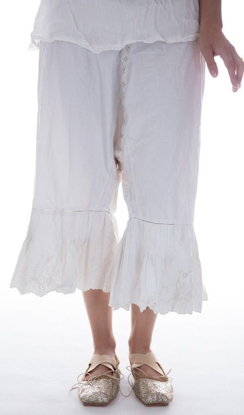 French Cotton Poplin Betrys Bloomers, Pintucks and Embroidery, Drawstring Back, Side Buttons