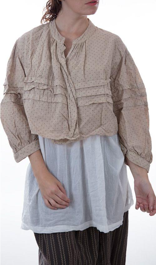 Cotton Kagen Cropped Jacket with Pleats on Sleeves and Front, and Sewn in Cotton Lining that Buttons Down