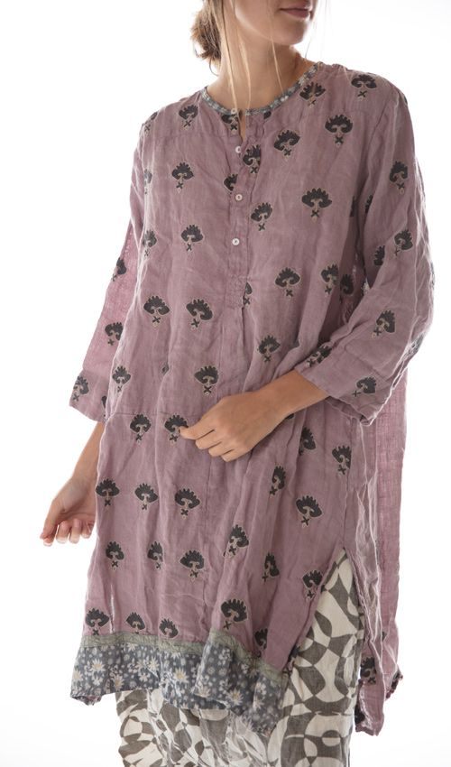 European Linen Embroidered Pavla Shirt Dress, with Hand Sewn Buttons, Cotton Daisy and Silk Trims