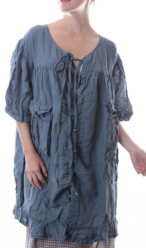 Linen Nikolea Lace Up Dress with Short Sleeves, Pockets, and Bottom Ruffle