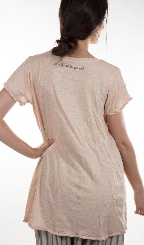 Cotton Morrissey T with Hand Stitched Mending - Magnolia Pearl