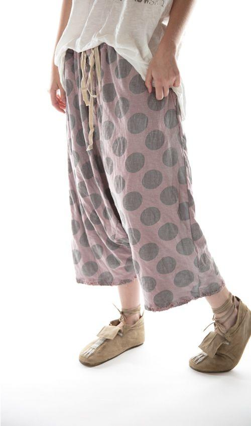 Cotton Jersey Frankie Pants with Distressing and Mending, Drawstring Waist, Magnolia Pearl