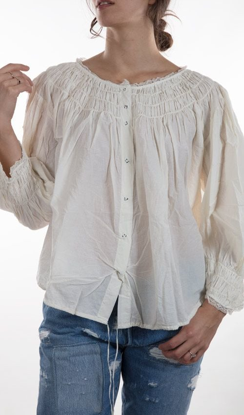 Eniss Blouse with Gathering at Neck and Sleeves, Cotton Lace, and Antiqued Snaps