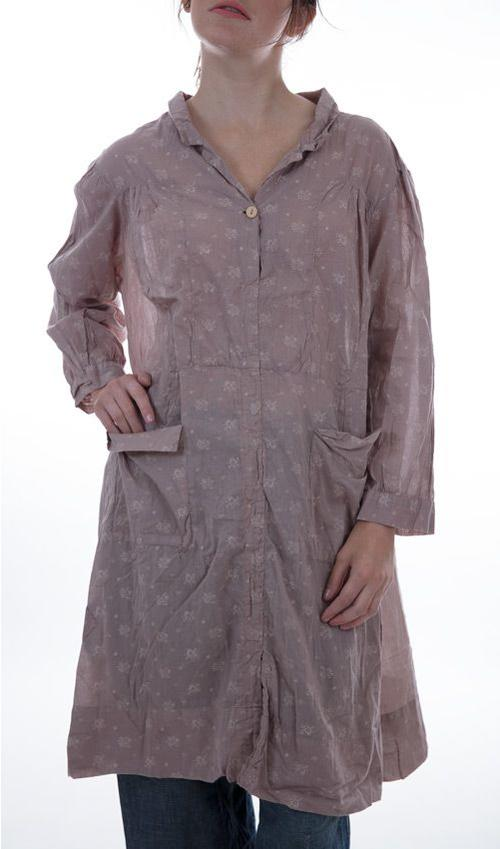 European Cotton Nella Dress with Long Sleeves, Pockets, Button Front - Magnolia Pearl