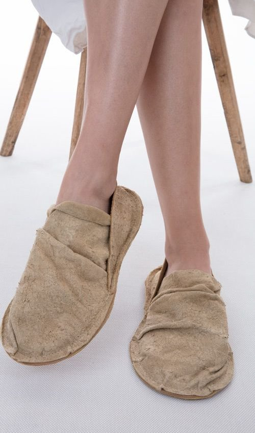 Handmade French Carpetbagger Shoes Made From Distressed Leather with Leather Sole, Magnolia Pearl