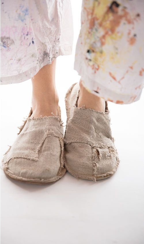 Handmade French Carpetbagger Shoes Made From Antique French Grainsacks with Leather Lining and Sole, Magnolia Pearl