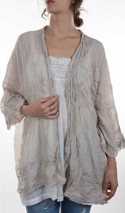 Cleo Thin Silk Embroidered Short Kimono, Magnolia Pearl