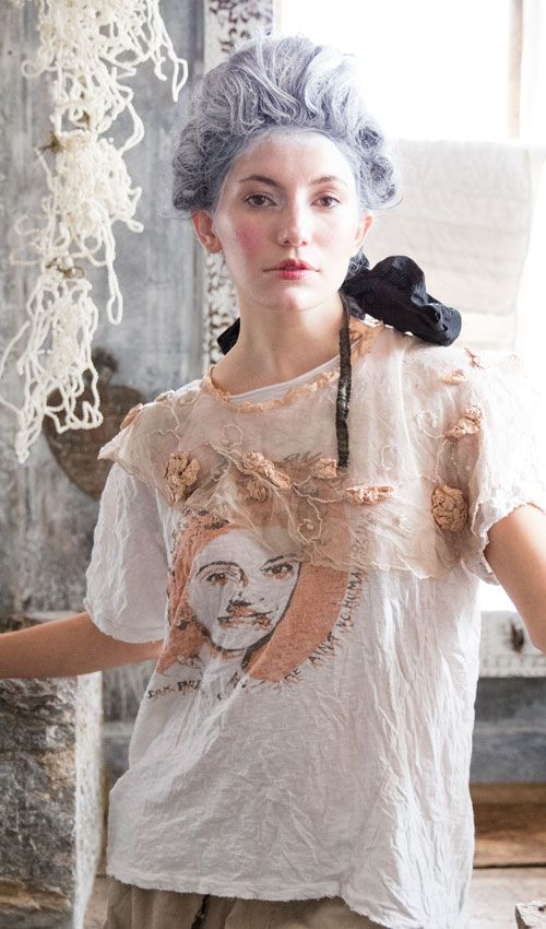 Bernaix Cotton Tulle Neck Chaplet with Silk Coral Rose Accents and Hand Embroidery, Magnolia Pearl