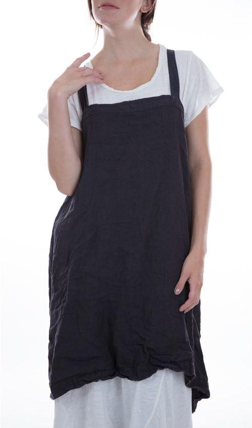 Cotton Linen Chore Apron with Cotton Straps and Handstitching