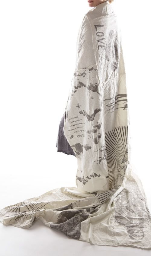 Cotton Canvas Magnolia Pearl Artist's Squat, Throw, Dropcloth, Printed with Magnolia Pearl Graphics with Zig Zag Stitching and Raw Edges