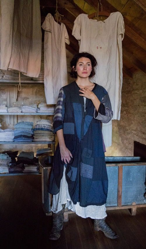 French Faded Cotton Blues and Calicos D'Orsay Smock Dress, Magnolia Pearl