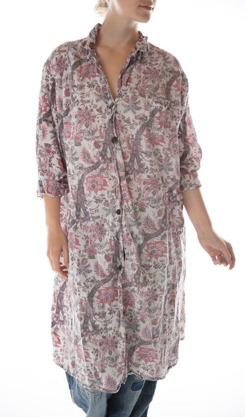 Cotton Hudson Smockdress with Pockets, Mixed Buttons and Patches, Magnolia Pearl