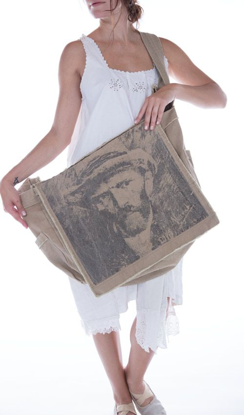 Cotton Canvas Vincent Van Gogh Art Satchel, Magnolia Pearl