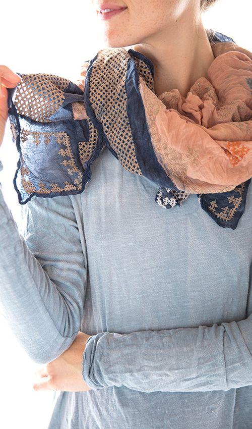 Embroidered Pabiola Scarf, Magnolia Pearl