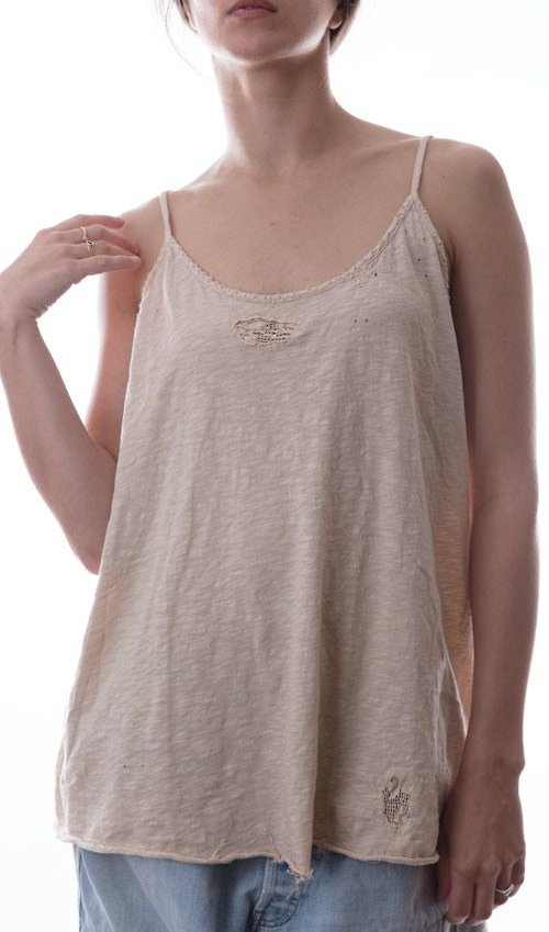 Wilhemina Tank Cotton Jersey, Cotton Lace Insets with Hand Stitching, Magnolia Pearl
