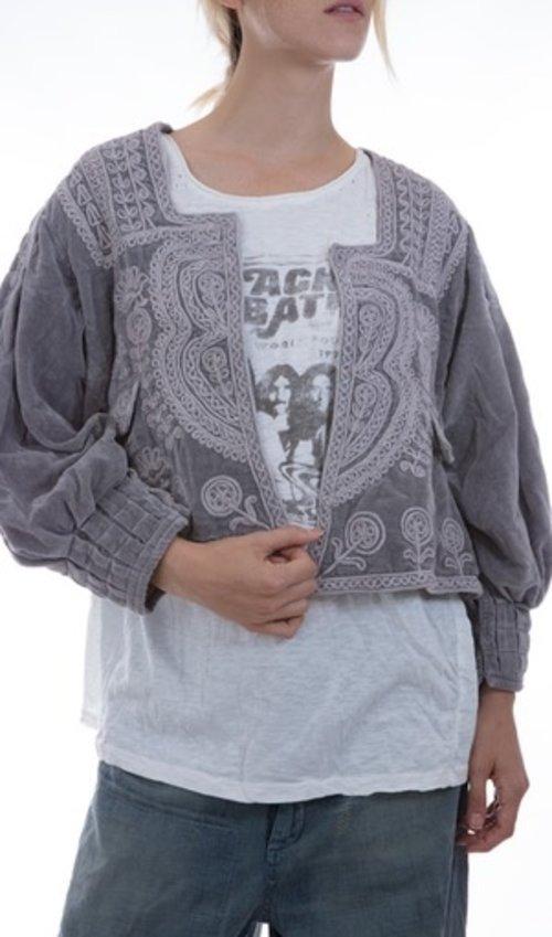 Marishka Velvet Ukrainian Inspired Embroidery Jacket, Lined in Cotton Silk, Hook Closures, Small Pocket, Magnolia Pearl