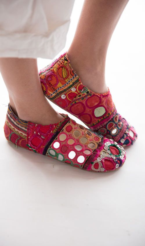 Handmade Ethnic Textile Cleo Caravan Shoe with All Leather Sole and Leather Lining, One of A Kind, Magnolia Pearl