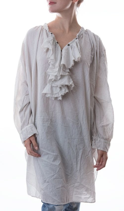 European Cotton Maestro Blouse, with Ruffled Collar, Antique Snaps at Neck Line and Cuffs