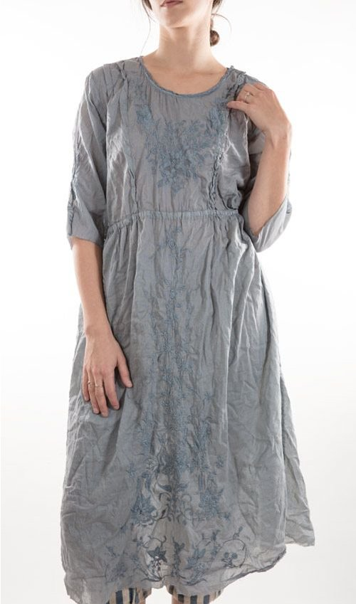 French Embroidered Silk Rhone Dress, with Raw Edged Three Quarter Sleeves and Hem, Antique Snap Closures, and Pleated