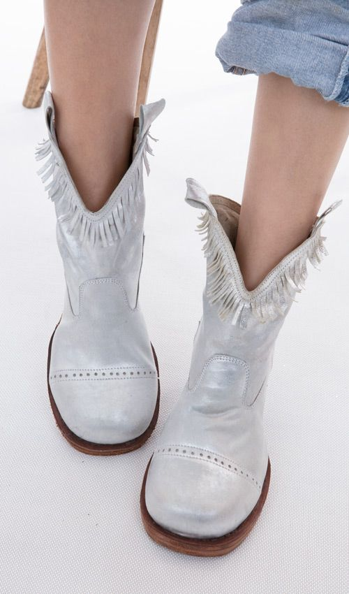 100 Percent Leather Hi Ho Silver Ankle Boot with Fringe Around the Ankle