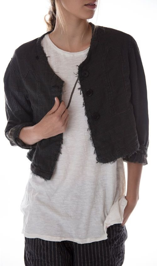 Woven Cotton Alva Coat with Patches and Mending, Magnolia Pearl