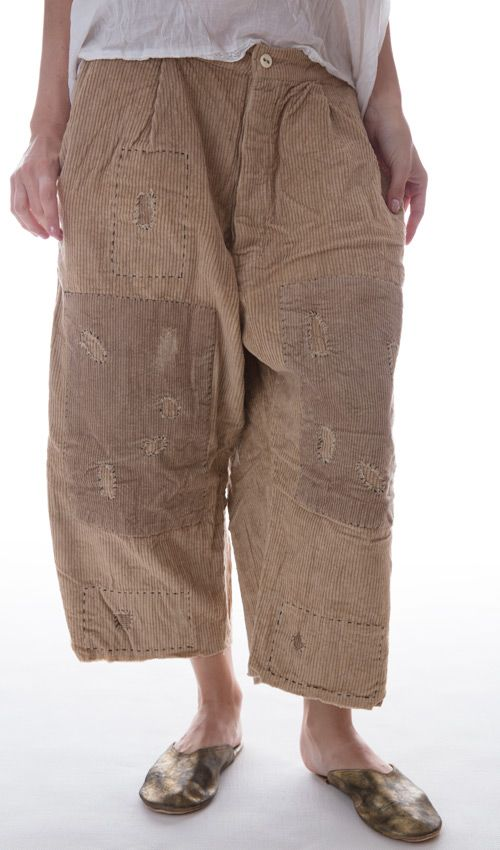 Cotton Corduroy French Work Pants with Button Fly, Drawstring Back, and Hand Stitched Patches and Mending