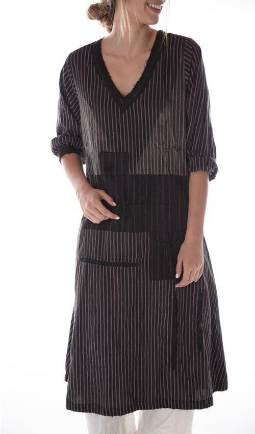 European Cotton Sorrell Dress with Sunfading, Mending and Patches, Black Buttons and Back Embroidered Trim