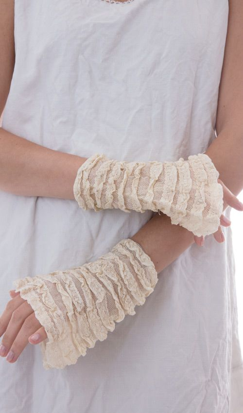 Cotton Tulle and Lace Stravinsky Cuffs with Antique Snaps
