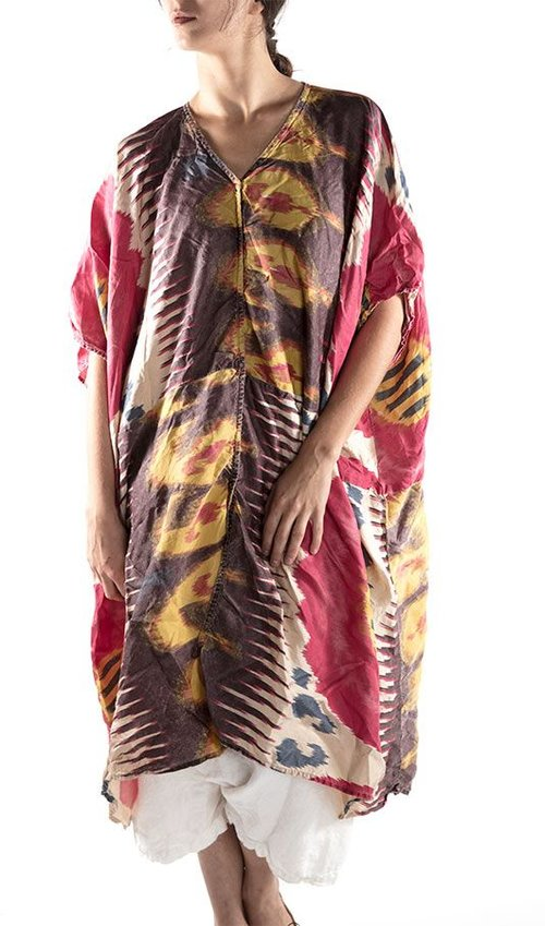 Thin Hand Block Printed Cotton Jaya Kaftan Dress with Linen Patches and Hand Stitching, Snap Closures
