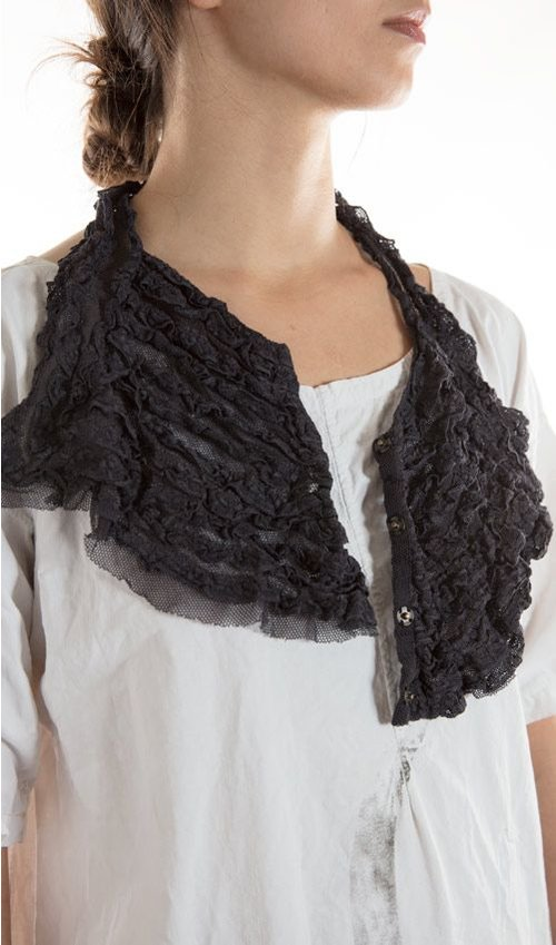 Cotton Tulle and Lace Stravinsky Jabot with Antique Snaps
