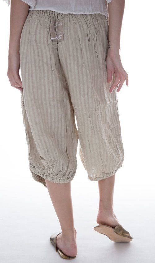 Linen Stripe Vergie Pants with Full-Length Front Pockets in Muted Moss