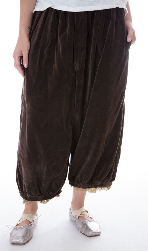 French Cotton Velvet Laurel Trousers with Silk Lining, Button Fly, Cotton Lace Cuffs, and Drawstring at Back