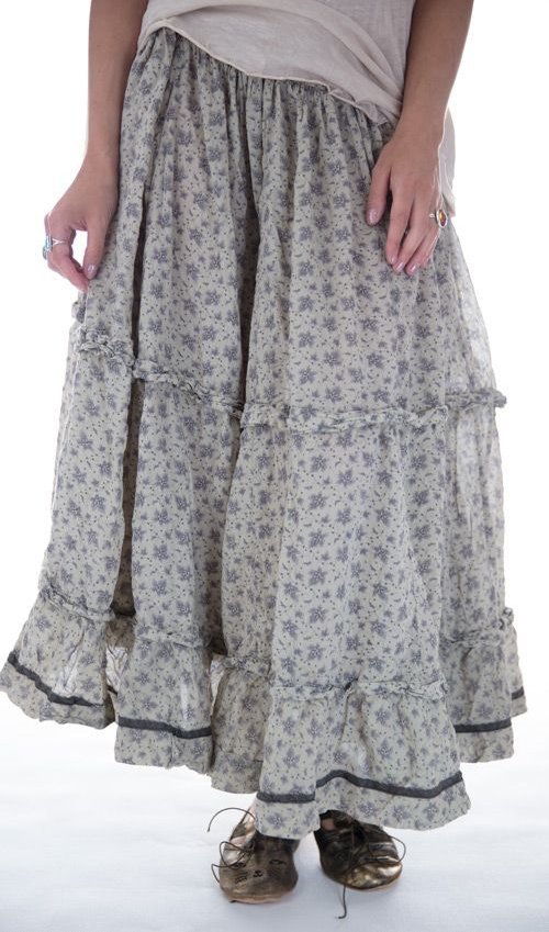 Pissarro Skirt with Drawstring Waist and Hooks, and Black Silk Trim, Magnolia Pearl