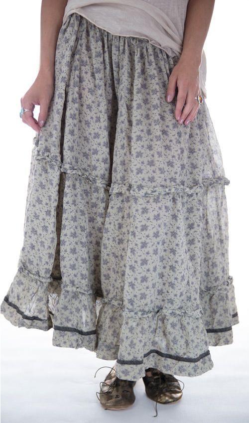 Pissarro Skirt with Drawstring Waist and Hooks, and Black Silk Trim, Magnolia Pearl