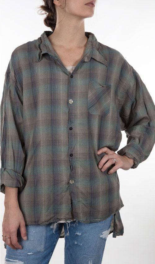 European Cotton Adison Workshirt with Mixed Buttons and Hand Mending, Magnolia Pearl