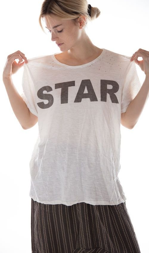 Cotton Jersey Bold Star T, New Boyfriend Cut, Magnolia Pearl