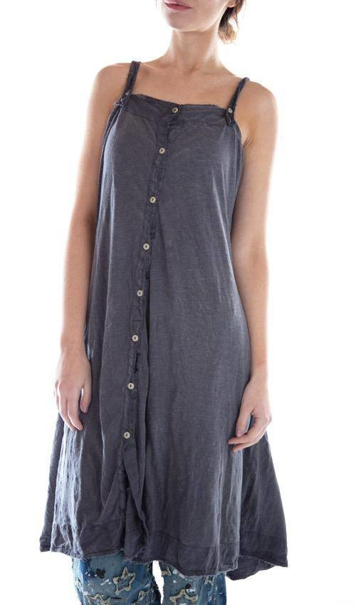 Cotton Jersey Aspen Tank Slip with Fading, Mending and Distressing, Adjustable Straps, Button Front, Ties at Back, Magnolia Pearl