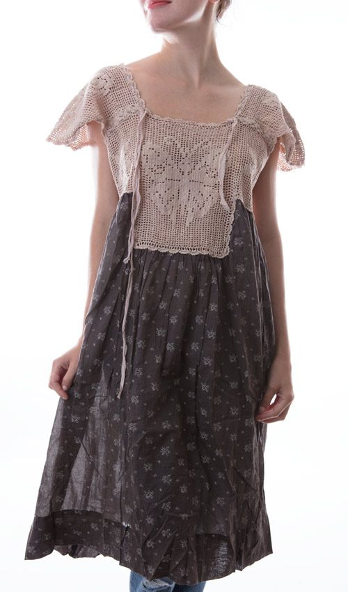 European Cotton Ave Maria Dress with Hand Crocheted Yoke, Silk Ties, Magnolia Pearl