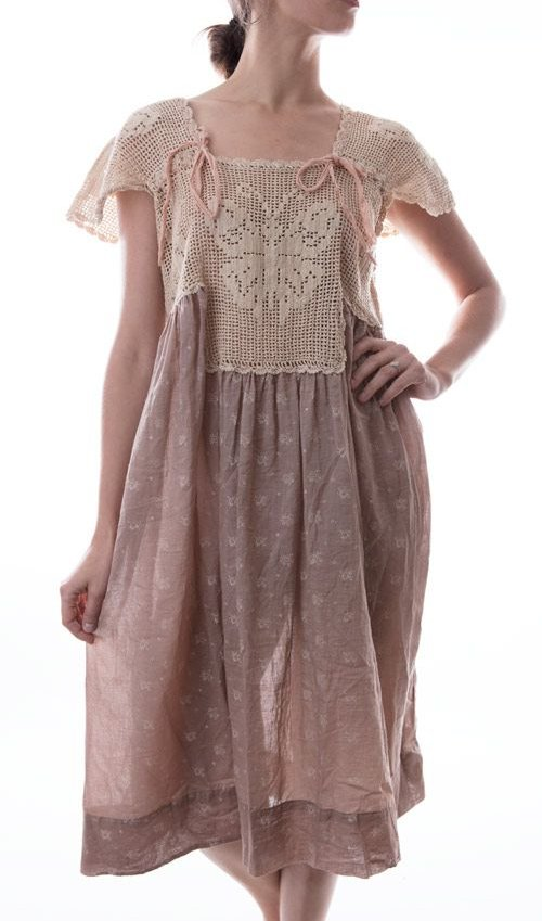 European Cotton Ave Maria Dress with Hand Crocheted Yoke, Silk Ties, Magnolia Pearl