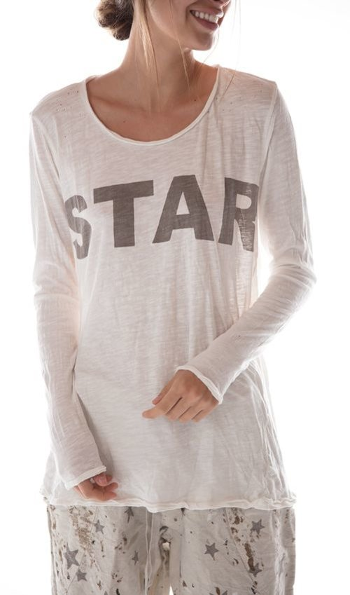 Cotton Jersey Bold Star Dylan T, Magnolia Pearl