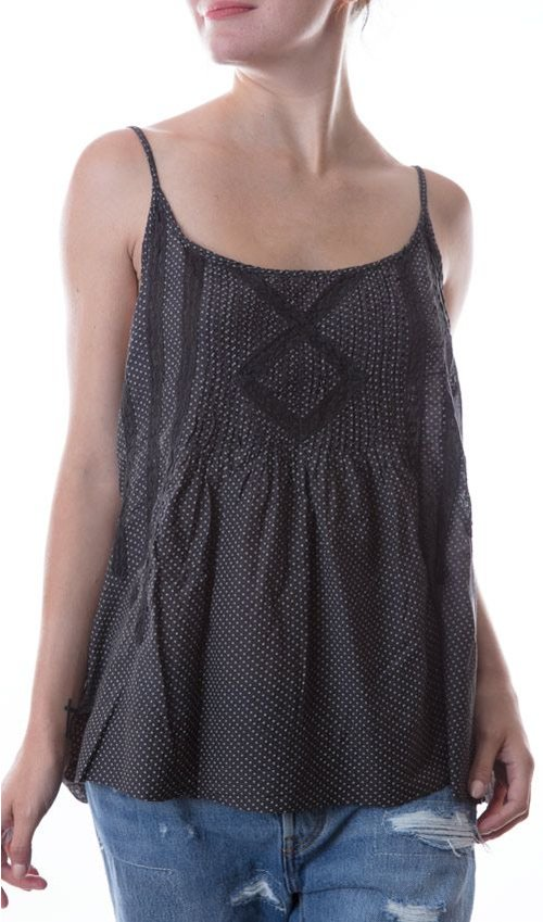 Cotton Silk Mittie Tank with Adjustable Straps, Pin Tucks, and Lace