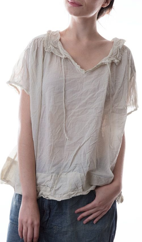 Thin European Cotton Sylvie Blouse with Cotton Lace Trimmed Collar, and Hand Stitched Patches and Mending