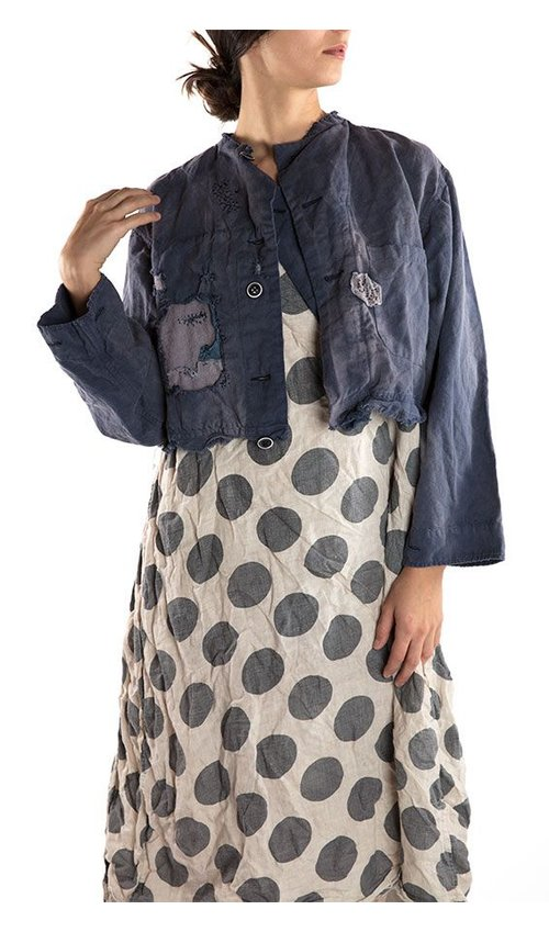 Cotton Linen Zinn Cropped Military Jacket with Cosmos Print, Magnolia Pearl