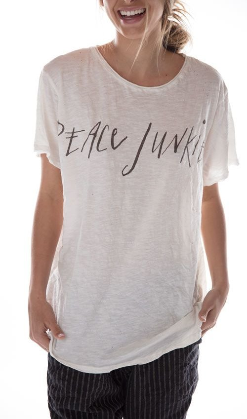 Cotton Jersey Peace Junkie T, New Boyfriend Cut, Magnolia Pearl
