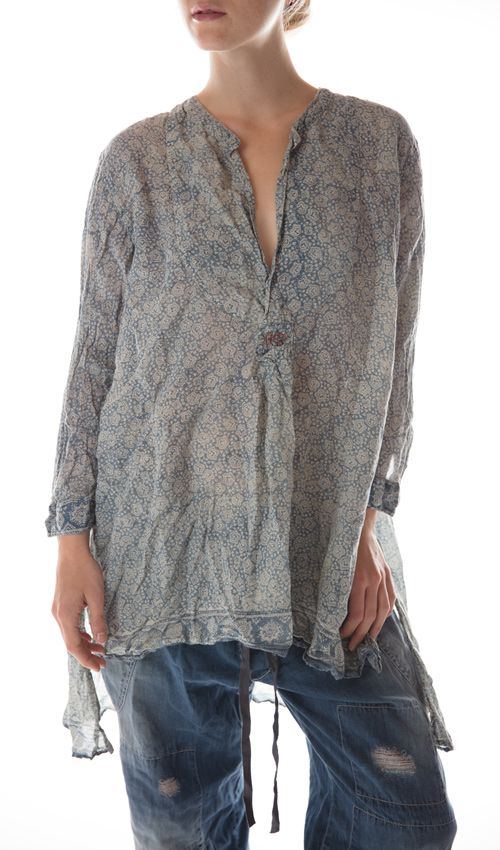 French Cotton Ines Classic Shirt with MP Cross Stitch, Magnolia Pearl