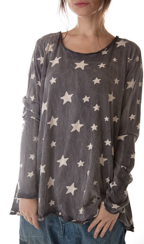 Cotton Jersey Galaxy Dylan T with Hand Distressing, Magnolia Pearl